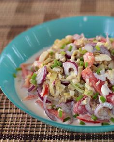 Think of it as a vegan ceviche. Thinly-sliced blanched banana heart, shallots, tomatoes and chilies are tossed with kalamansi juice and coconut milk to make this delicious salad.