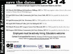SAVE THE DATES MT ESGR Job Fairs 2014 http://military-civilian.blogspot.com/2013/10/save-dates-mt-esgr-job-fairs-2014.html