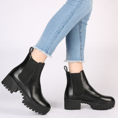 Let Cassie be your new bessie. The simple chelsea boot style with a punk edge. Chunky cleated sole gives us badass feels! The elasticated gusset side finishes off the boot. Pair yours with an oversized tartan shirt dress throw a leather biker jacket over the top for a cool laid back grunge look. Ain't nobody gonna mess with you bae.   Heel Height: 2.1\
