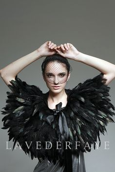 Couture Black Coque Feather Capelet Wrap - Laveder Faye. $98.99, via Etsy.