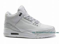 watch cf799 45acc Chaussures Nike BasketBall Pas Cher Pour Homme Air Jordan 3 Retro Toute  Blanc 136064-111