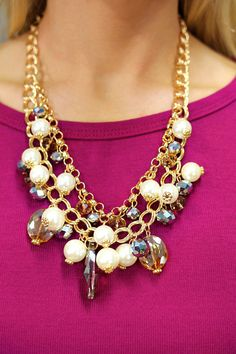 Gold Bauble Pearl Necklace   UOIonline.com: Women's Clothing Boutique