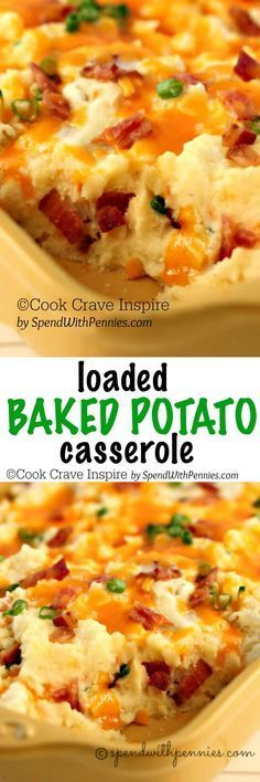 Loaded Twice Baked Potato Casserole! This delicious side has all of your favorite loaded potato flavors in a simple casserole! , Twice Baked Potatoes Vegetable Dishes, Vegetable Recipes, Loaded Baked Potato Casserole, Loaded Mashed Potatoes, Potatoe Casserole Recipes, Potato Recipes, Cracker Barrel Hashbrown Casserole, Canned Potatoes, Great Recipes