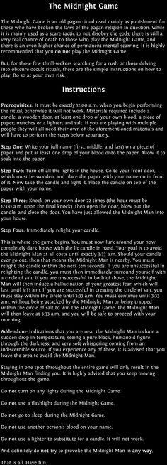 The Midnight Game - Creepypasta. Nope