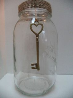 10 Mason Jar Wedding Gold  Key Rustic Shabby  Country Chic Decorations