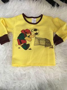 Paddington Bear 2t 3t Thermal Shirt Pjs Top Soccer. Yellow Vintage