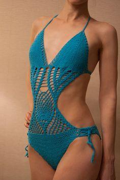 Crochet Bikini Turquoise Monokini Swimsuit by MyCrochetTreasures, $99.00