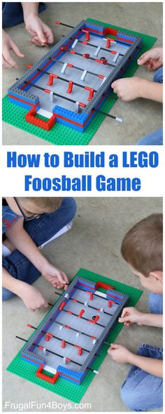 How to Build a LEGO Foosball Game - It really works! Use a marble for the ball. Fun LEGO project idea for kids. How to Build a LEGO Foosball Game - It really works! Use a marble for the ball. Fun LEGO project idea for kids. Lego For Kids, Diy For Kids, Crafts For Kids, Lego Sets For Boys, Lego Challenge, Lego Craft, Lego Games, Diy Games, Lego Room