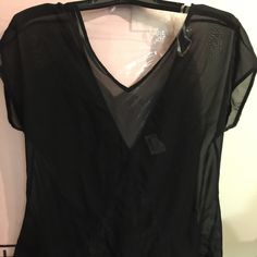 New black sleeveless blouse lace on back New black sheer blouse. Top is sleeveless has lace in the back of the blouse. Lace forms a fish tail at the bottom of shirt. It also is longer where the lace is. Shirt is very cute never worn tag attached. Will fit a S/M None Tops Blouses
