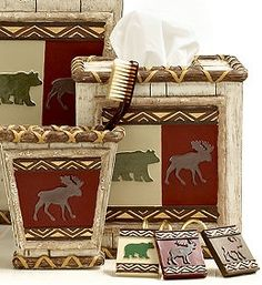 moose and bear cabin decor - Google Search