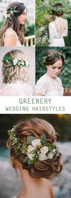 Top Greenery Wedding Ideas : Brides love adding greenery to their hair for their big day! Get some hair style inspiration. Greenery Wedding Hairstyles on Pretty Collected Flower Crown Bride, Bride Flowers, Wedding Hair Flowers, Wedding Hair And Makeup, Wedding Updo, Green Wedding, Flowers In Hair, Boho Wedding, Bridal Hair