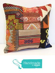 Modern Patchwork kelim pillow cover 18x18 inch (45x45 cm) Handmade Kilim pillow cover Turkish pillow Accent Hand woven Cushion Cover from Kilimwarehouse https://www.amazon.com/dp/B072265DRN/ref=hnd_sw_r_pi_dp_wus9yb90J24BA #handmadeatamazon
