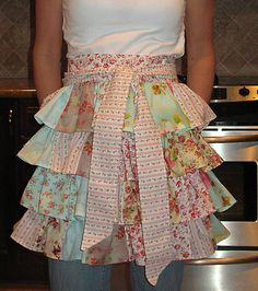 Sweets for the Sweet... Shabby chic patchwork version of the Ruffled Apron by One More Moore
