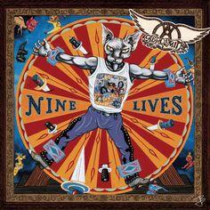 Aerosmith - Nine Lives - 1997 animated album cover art by jbetcom. #gif .