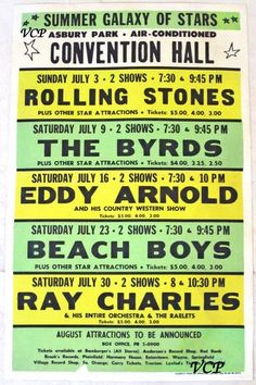 Rolling Stones, Byrds, Eddie Arnold, Beach Boys, Ray Charles July 1966, Asbury Park, New Jersey