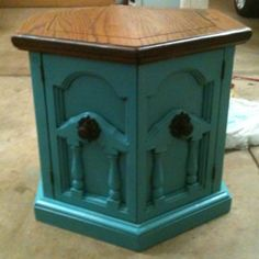 End table refinished painted teal aqua blue. Refurbished. Furniture projects. DIY. Chest or cabinet. New hardware. Stained top. New idea for old furniture.