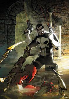 Marvel's Civil War - The Punisher vs. Iron Spider-Man by Michael Turner