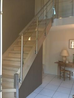 garde corps bois inox et verre avec sa main courante en. Black Bedroom Furniture Sets. Home Design Ideas