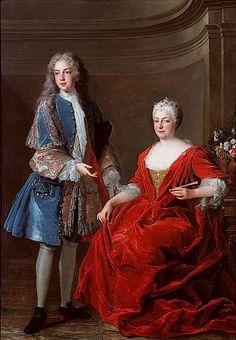 Élisabeth-Charlotte d'Orléans, Duchess of Lorraine and her son  François-Étienne  by Alexis Simon Belle, 1722
