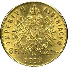 Moneda de oro 20 francos-8 florines Austria.