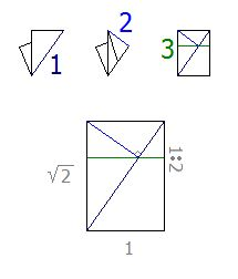 Folding a piece of A4 into thirds.