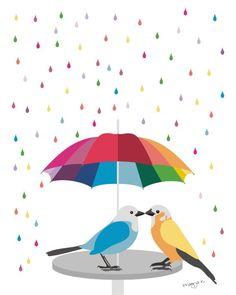 Love art  - 'Rainbow Umbrella' -  illustration, 8x10, wall art, bird art. $20.00, via Etsy.