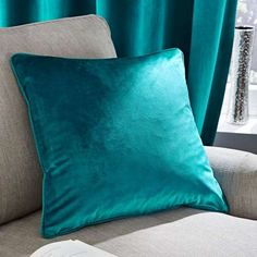 Living Room Curtains Teal - Ashford Teal Lined Eyelet Curtains Teal Rooms, Teal Living Rooms, Living Room Decor, Teal Cushions, Velvet Cushions, Cushions On Sofa, Turquoise Pillows, Turquoise Room, Throw Pillows