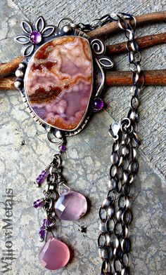 The Dreaming Meadow - Agua Nueva Agate Sterling Silver Necklace with Amethyst and Lavender Chalcedony