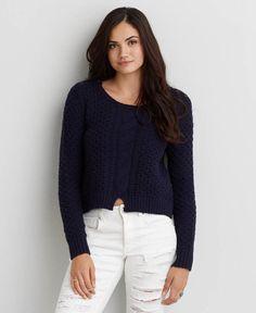 AEO Split Hem Sweater, Women's, Navy Blue
