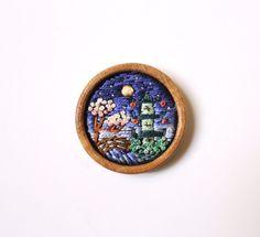 Hand embroidered miniature ' A Night in Japanese Garden ' Brooch // Magnet by İrem Yazıcı