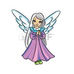 engel+tekening%3A+Leuke+kerst+engel+vector+afbeelding+in+kleur%2C+die+op+achtergrond.+Stock+Illustratie