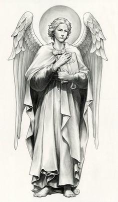 백합과 중성이 특징인 가브리엘 지팡이와 물고기가 상징인 라파엘 책이 상징인 우리엘 모든 천사들의 리더...