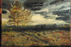 24x36 inches, Oil on Canvas, Scorched Earth series, Scotland, by Leona Bushman, original photo by Toby