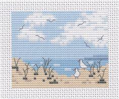 beach cross stitch scene - pretty free pattern by www.wishfulthinkinguk.com