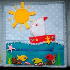 cute boat to sail on this quiet book page - zipper and move the boat on the string