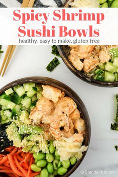 Spicy Shrimp Sushi Bowls - Slender Kitchen. Works for Clean Eating, Gluten Free and Weight Watchers® diets. 438 Calories.