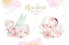 you will receive: individual watercolor elements (.) seamless patterns dpi, jpg, x Baby Illustration, Graphic Illustration, Graduation Wallpaper, New Baby Dress, Baby Sketch, Eid Stickers, Angel Drawing, Moon Party, Baby Clip Art