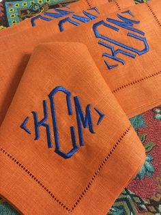 Blake Signature  Colour monogrammed linen napkins.www.bellalino.com