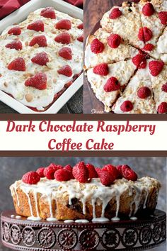 Dark chocolate raspberry coffee cake is moist, lightly sweet and perfect for brunch or dessert. The crunchy streusel topping pairs well with the soft cake. #cheesecake #Raspberry #recipes . cheesecake recipes , cheesecake recipes easy , cheesecake bites , cheesecake brownies , cheesecake bars , cheesecake stuffed strawberries , cheesecake factory copycat recipes .