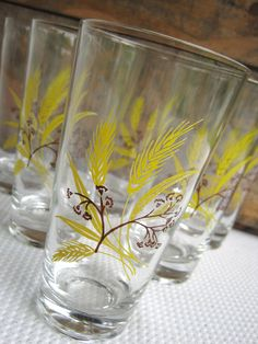 Vintage Autumn Gold Glasses 12 Ounce Highball set of six by Century Service Corp Gold Glass, Glass Vase, Iced Tea Glasses, Harvest, I Am Awesome, Thanksgiving, Autumn, Shapes, Pattern