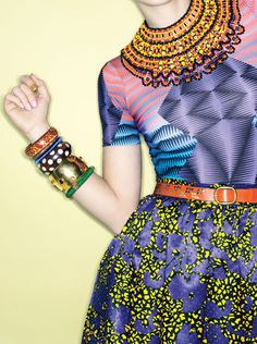 Culture Club Topshop T-shirt. See by Chloé skirt, Erickson Beamon for Anna Sui necklace. Calleen Cordero Designs belt, Erickson Beamon jeweled bracelet and floral bracelet. M. Haskell wooden bangle. Pono by Joan Goodman beaded bangle.