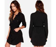 Casual Buttons Black Short Dress