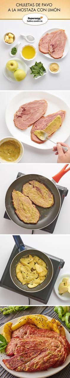 #Chuletas de pavo a la mostaza con limón: Licúa 2 cdas. de mostaza Dijon con ¼ tz. de aceite de oliva, 1 cdita. de sal, 1 cdita. de ralladura de limón; unta 800 g de chuletas de pavo con la mezcla anterior y cocina en una sartén caliente con 2 cdas. de aceite de oliva por 3 min. de cada lado. Sirve con rebanadas de manzana salteadas con mantequilla y albahaca.