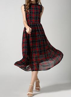 Vintage Ruff Collar Sleeveless Plaid Chiffon Dress For Women