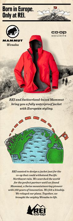 REI and Switzerland-based Mammut bring you the Men's Mammut Wenaha, a fully waterproof rain jacket with European styling. It's ideal for hiking, backpacking and traveling. A great value, only at REI.
