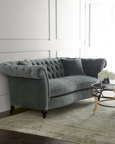 #ONLYATNM Only Here. Only Ours. Exclusively for You. Handcrafted tufted sofa. Hardwood frame. Polyester/cotton velvet upholstery. Feather/down seat. Sinuous springs; mortise-and-tenon construction. 92