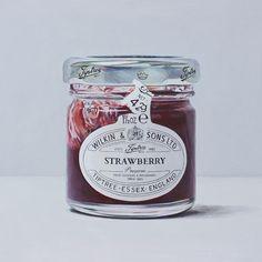 Single Serve Jam by Joel Penkman Realistic Paintings, Realistic Drawings, Joel Penkman, Food Illustrations, Illustration Art, Surface Design, Strawberry Fruit, Food Painting, Jam Jar
