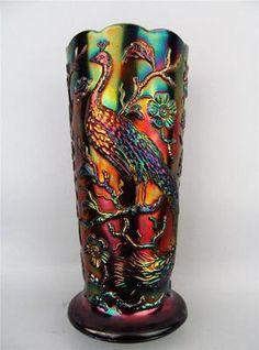 Peacock Garden by Fenton Purple Contemporary Carnival Glass Vase Mint