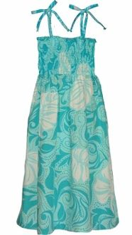 FREE SHIPPING - EVERY ORDER, EVERY DAY!  Puanani Ladies Short Smocked Tube Dress -Aqua. Ladies Hawaiian Aloha Print Dress, Smocked Tube Top, Comfortable. Tie On Shoulders, Tie Halter style, Go Strapless. Manufacturer: RJC Robert J Clancey Label: Puanani 100% Rayon - Made in Hawaii.