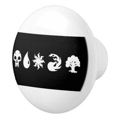 Role-Playing Card Game Symbols Ceramic Knob - home gifts ideas decor special unique custom individual customized individualized
